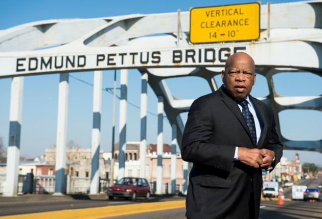 In 1965, John Lewis led a group of 600 nonviolent protesters across the Edmund Pettus Bridge in Selma,...