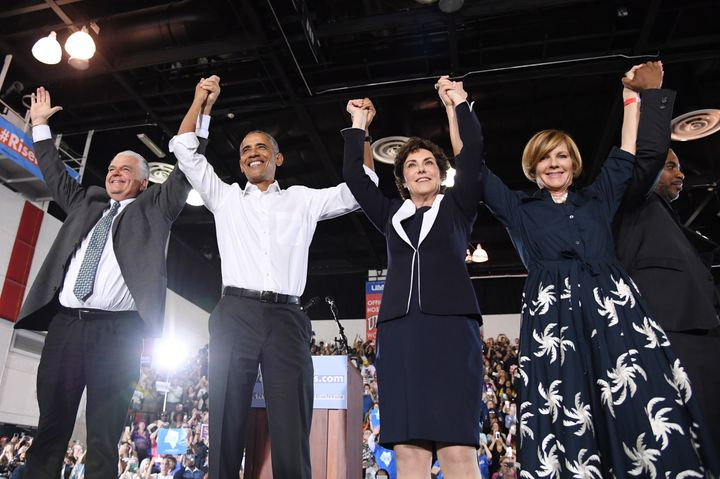 Former President Barack Obama appeared at a rally at the University of Nevada, Las Vegas, on Monday and urged people to