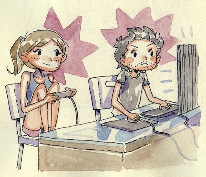 The couple playing video games in person.