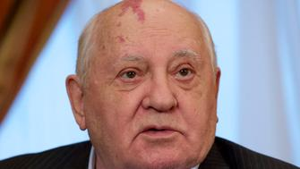 FILE. In this file photo taken Friday, Dec. 9, 2016 photo former Soviet President Mikhail Gorbachev speaks to the Associated Press during an interview at his foundation's headquarters in Moscow, Russia. Trump's announcement that the United States would leave the Intermediate-Range Nuclear Forces treaty brought sharp criticism on Sunday Oct. 21, 2018, from Russian officials and from former Soviet President Mikhail Gorbachev, who signed the treaty in 1987 with President Ronald Reagan. (AP Photo/Ivan Sekretarev, File)
