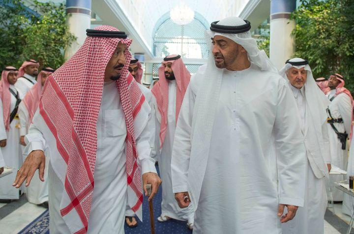 Saudi King Salman (front left) speaks with de facto United Arab Emirates leader Mohammed bin Zayed, Crown Prince of Abu Dhabi