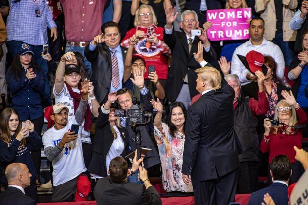 Donald Trump auf der Wahlkampfveranstaltung für den republikanischen Senator Ted Cruz in Houston,