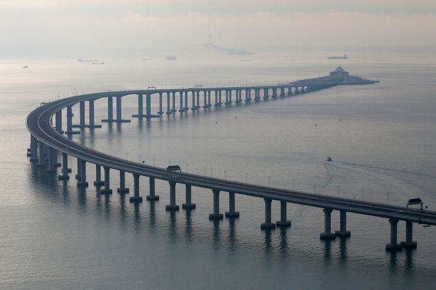 The 34-mile Hong Kong-Zhuhai-Macau bridge was officially opened on