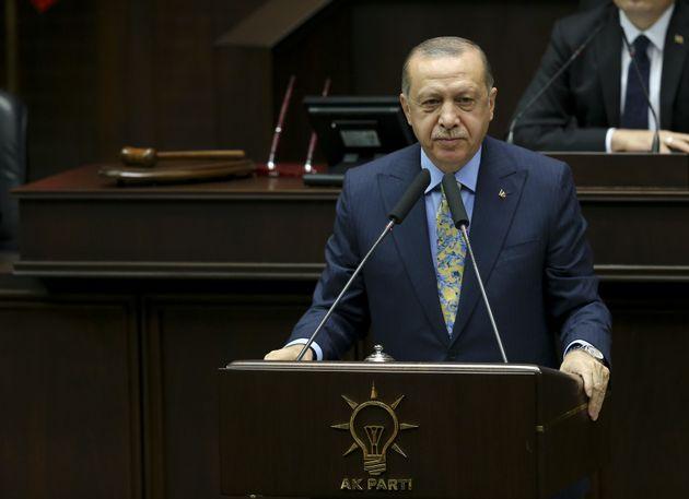 Recep Tayyip Erdoganwas speaking to members of his AK Party in