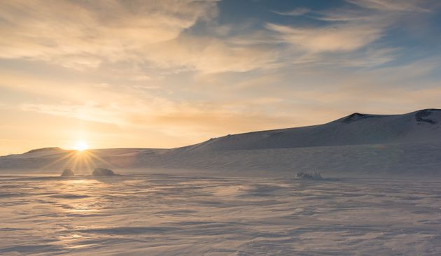 Frozen Ross Sea around Ross Island. The Ross Sea is currently the largest protected area in the
