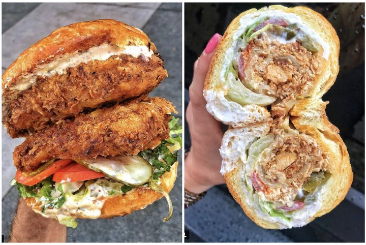 Left to right: A Doubled-Up Fried Chicken Sandwich from Bruxie Waffles in Los Angeles, and a hero at Painini Shoppe in Williamsburg, Brooklyn.