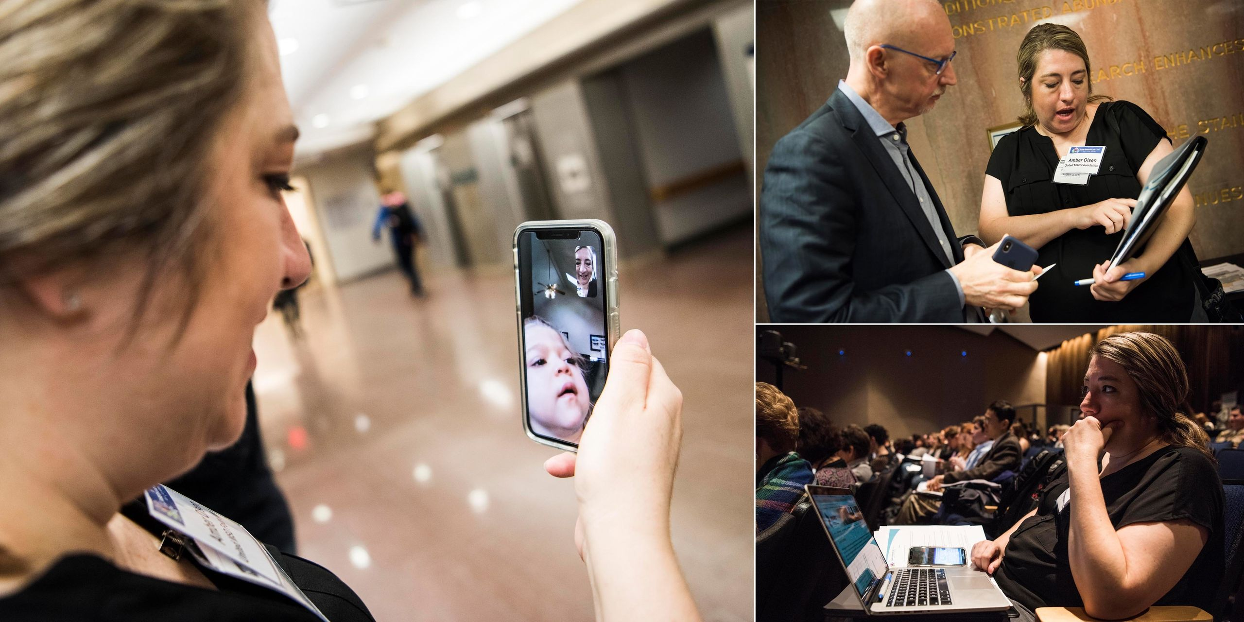 Amber FaceTimes with her family during a spare moment during Rare Disease Week at the NIH (left). She speaks with Sandy Macra