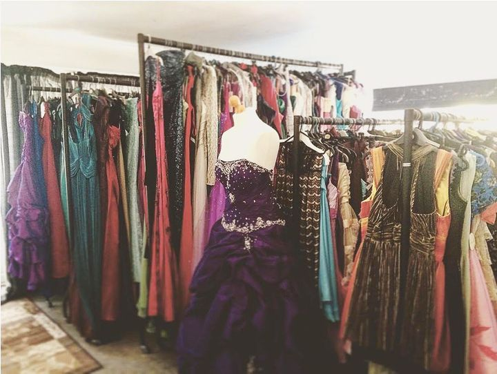 Prom dresses fill a spare bedroom in Ally's nan's house.