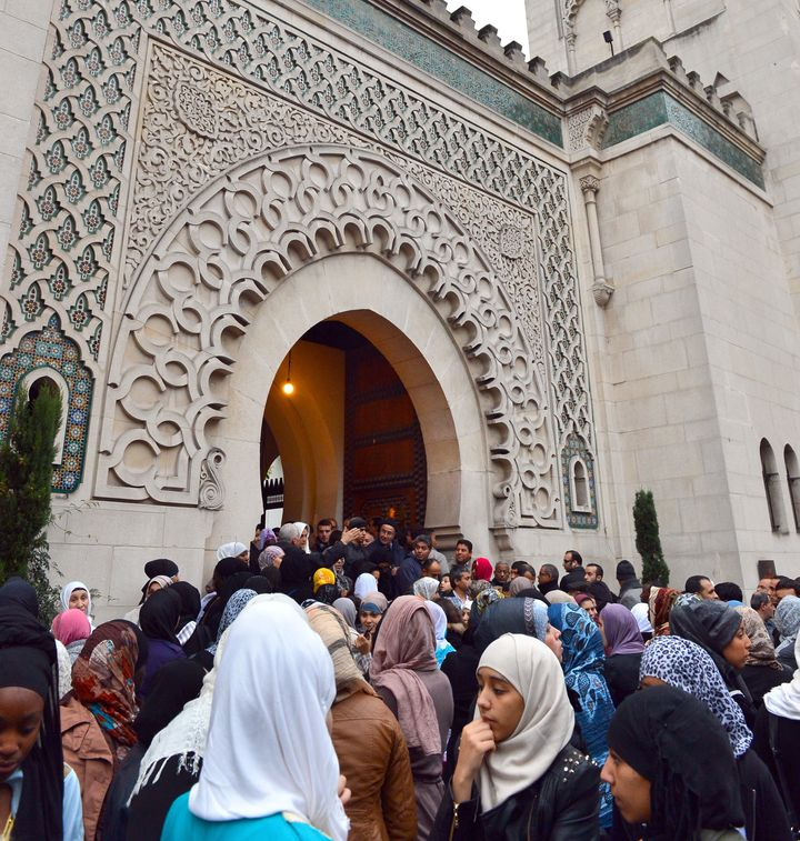 French Muslim women outside the Grande Mosque of Paris on the first day of Eid al-Adha in 2012. Only a small minority of