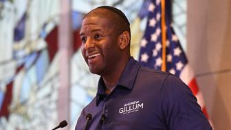 PEMBROKE PINES FL - OCTOBER 07: Democratic Florida gubernatorial nominee Andrew Gillum attends a political event at the Century Village Jewish Center on October 7, 2018 in Pembroke Pines, Florida.Credit: mpi04/MediaPunch /IPX
