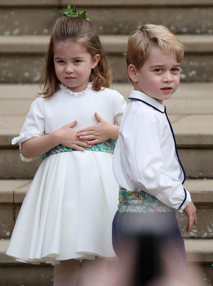 Princess Charlotte and Prince George served in Princess Eugenie's wedding party.