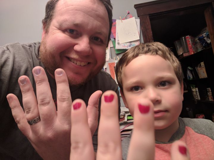 Aaron Gouveia, the founder of the parenting blog The Daddy Files, painted his nails a pale lavender shade to show support for his 5-year-old son, Sam, who was bullied at school for the red polish he sported.