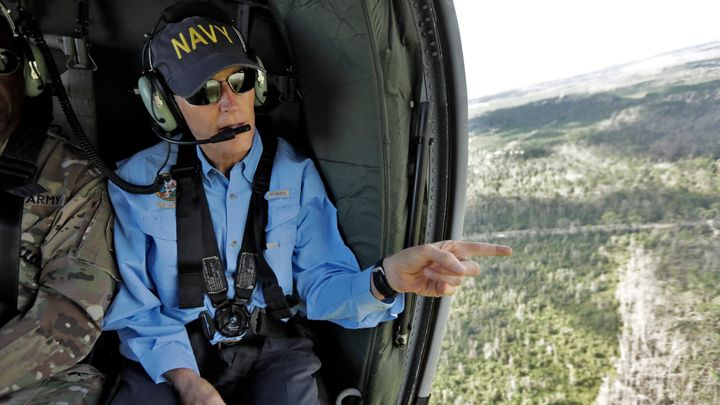 Florida Gov. Rick Scott surveys Hurricane Michael damage from a helicopter.