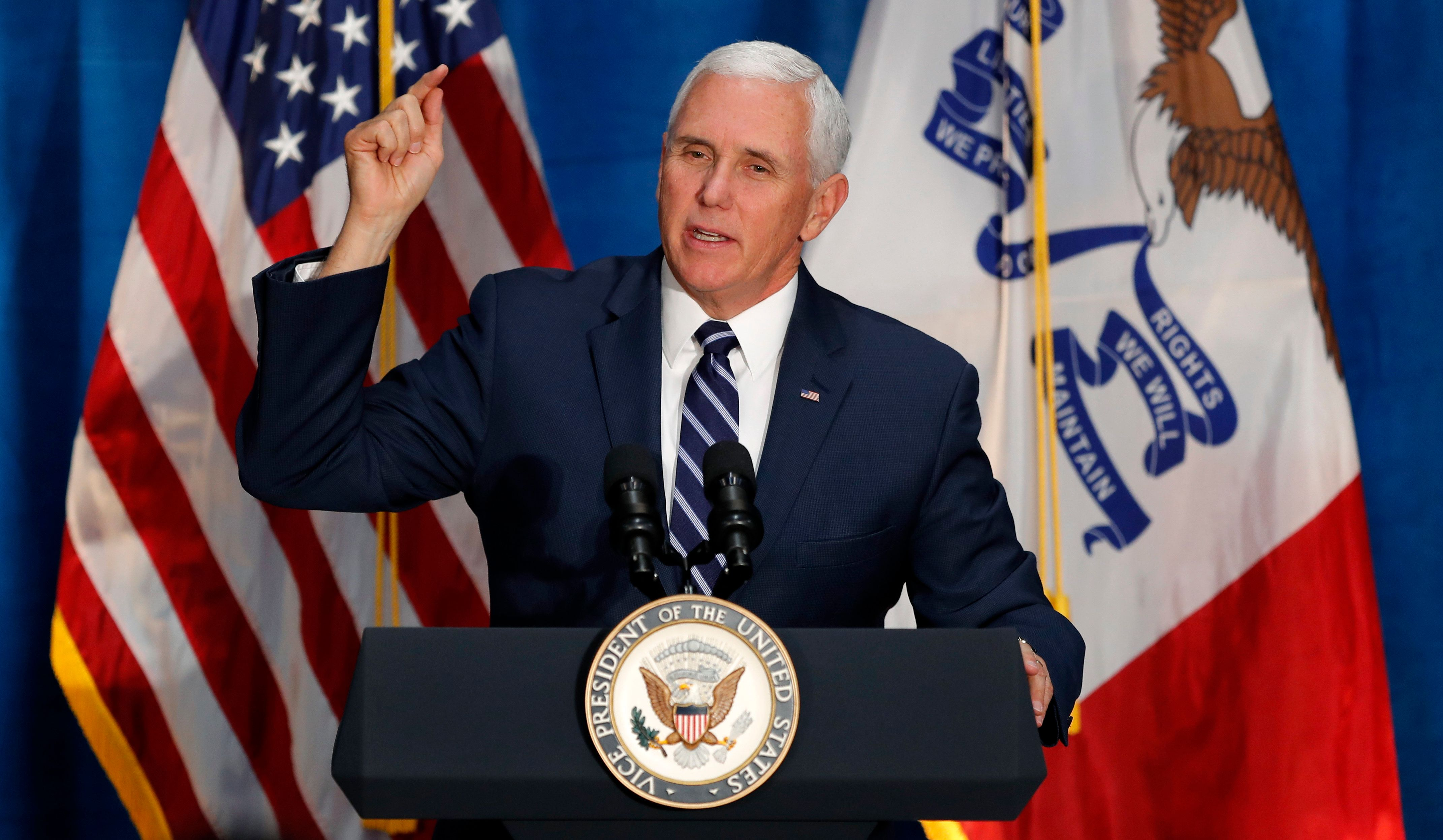 Vice President Mike Pence speaks during a rally for U.S. Rep. David Young, R-Iowa, Friday, Oct. 19, 2018, in Des Moines, Iowa. (AP Photo/Charlie Neibergall)