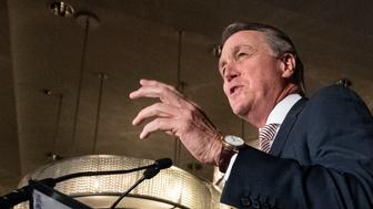 U.S. Senator David Perdue speaks during a Georgia Republican Party unity rally Thursday, July 26, 2018, in Peachtree Corners, Ga. The rally was held after a heated gubernatorial primary runoff race which pitted Lt. Governor Casey Cagle and Secretary of State Brian Kemp against each other with Kemp winning. (AP Photo/John Amis)