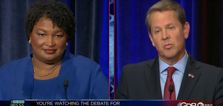 Georgia gubernatorial candidates Stacey Abrams and Brian Kemp spar over voting rights in their first debate.