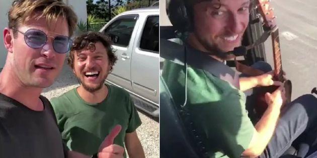 크리스 헴스워스가 히치하이커를 자신의 헬기에