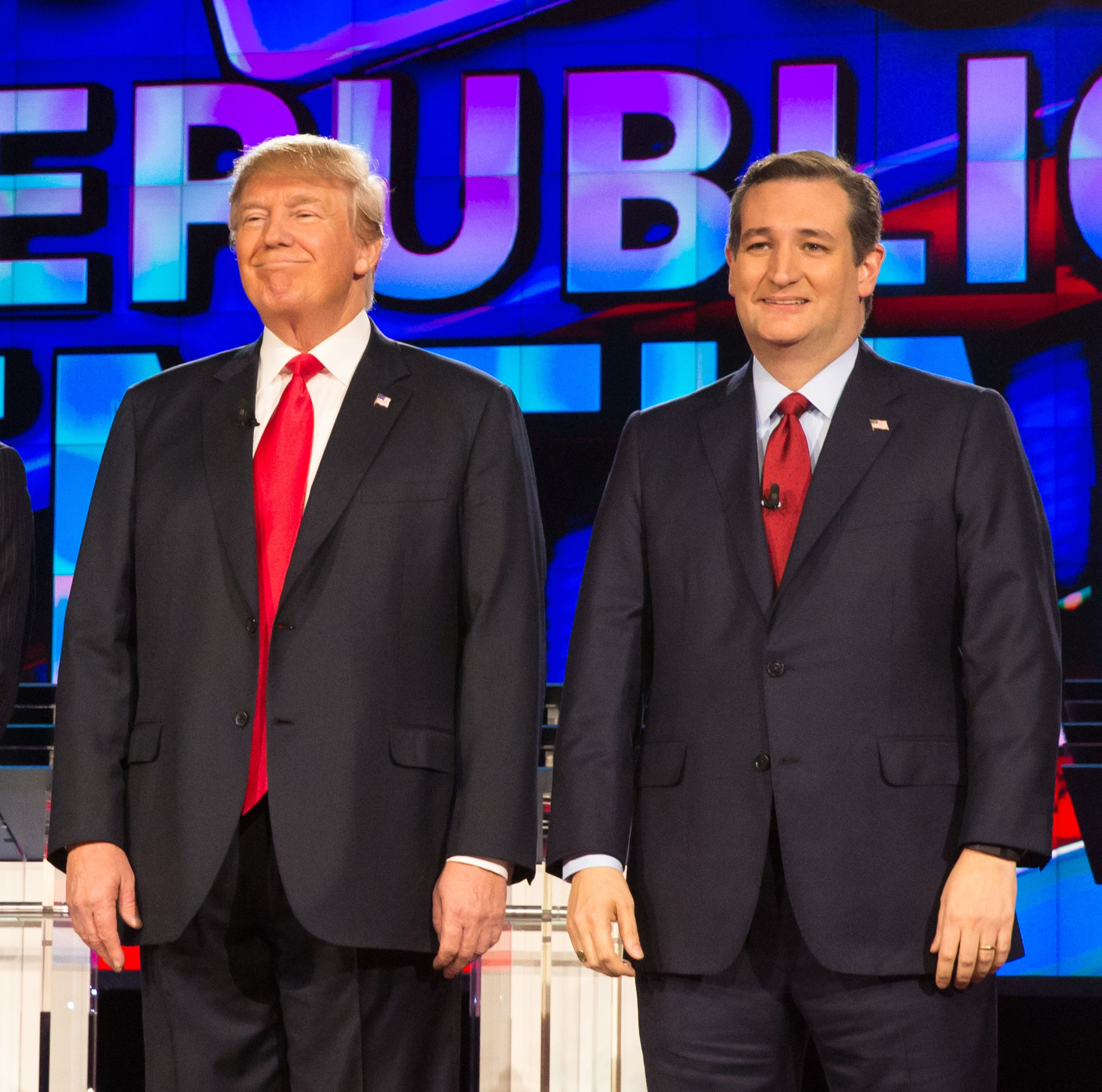 LAS VEGAS, NV - December 15, 2015:  Donald Trump, Ted Cruz pictured at the CNN GOP Debate at The Venetain Resort in Las vegas, NV on December 15, 2015. Credit: Erik Kabik Photography/ MediaPunch/IPX