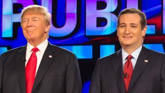 LAS VEGAS, NV - December 15, 2015:  Donald Trump, Ted Cruz pictured at the CNN GOP Debate at The Venetain Resort in Las vegas, NV on December 15, 2015. Credit: Erik Kabik Photography/ MediaPunch/IPX