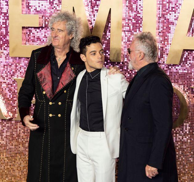 Brian May, Rami Malek and Roger