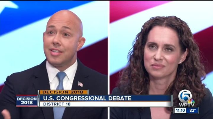 Rep. Brian Mast (R-Fla.) attacked his Democratic opponent, Lauren Baer, as unpatriotic for criticizing U.S. foreign policy in