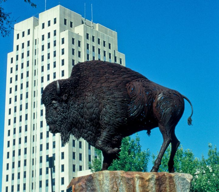 North Dakota's government, including the legislature (there behind the buffalo), has routinely been cited by watchdog groups
