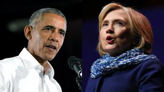 Former first lady Hillary Clinton and Former President Barack Obama