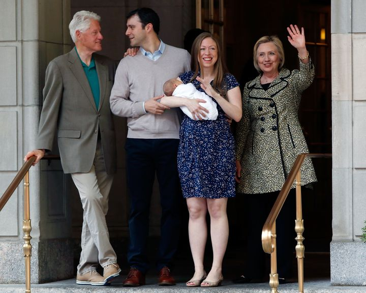 Bill Clinton, Marc Mezvinsky, Aidan Clinton Mezvinsky, Chelsea Clinton, and Hillary Clinton depart Lenox Hill Hospital on Jun