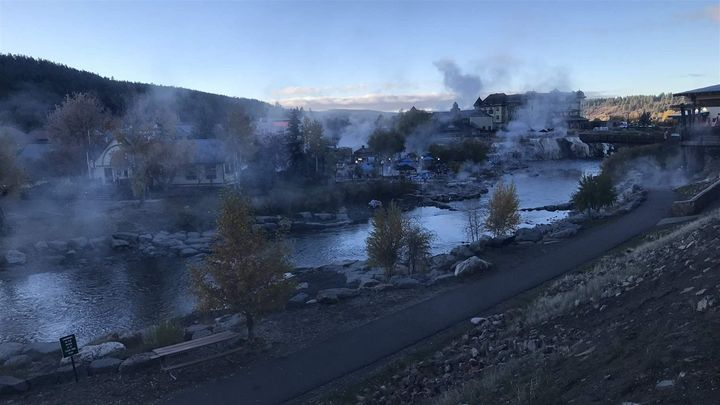 Steam rises off the San Juan River, released from the hot springs that give Pagosa Springs its name. A local forest health co