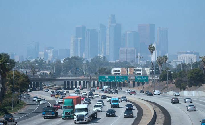 Downtown Los Angeles shrouded in smog on a September afternoon.