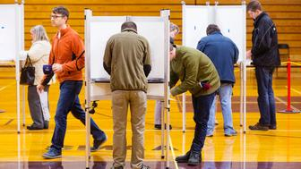 PORTLAND, ME - NOVEMBER 8: Early long lines keep voting booths full at Deering High School in Portland  on election day morning. (Photo by Carl D. Walsh/Portland Press Herald via Getty Images)