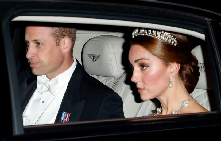 A closer look at William's outfit and Duchess Kate's jewels.
