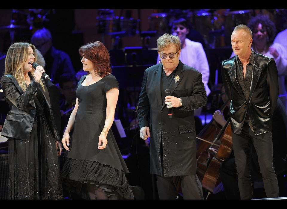 NEW YORK, NY - APRIL 03:  Rita Wilson,Rosanne Cash, Sir Elton John and Sting perform during the 2012 Concert for the Rainfore