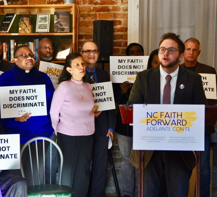Alex Patchin McNeill, executive director of More Light Presbyterians, speaks at a press conference for the NC Faith Forward C