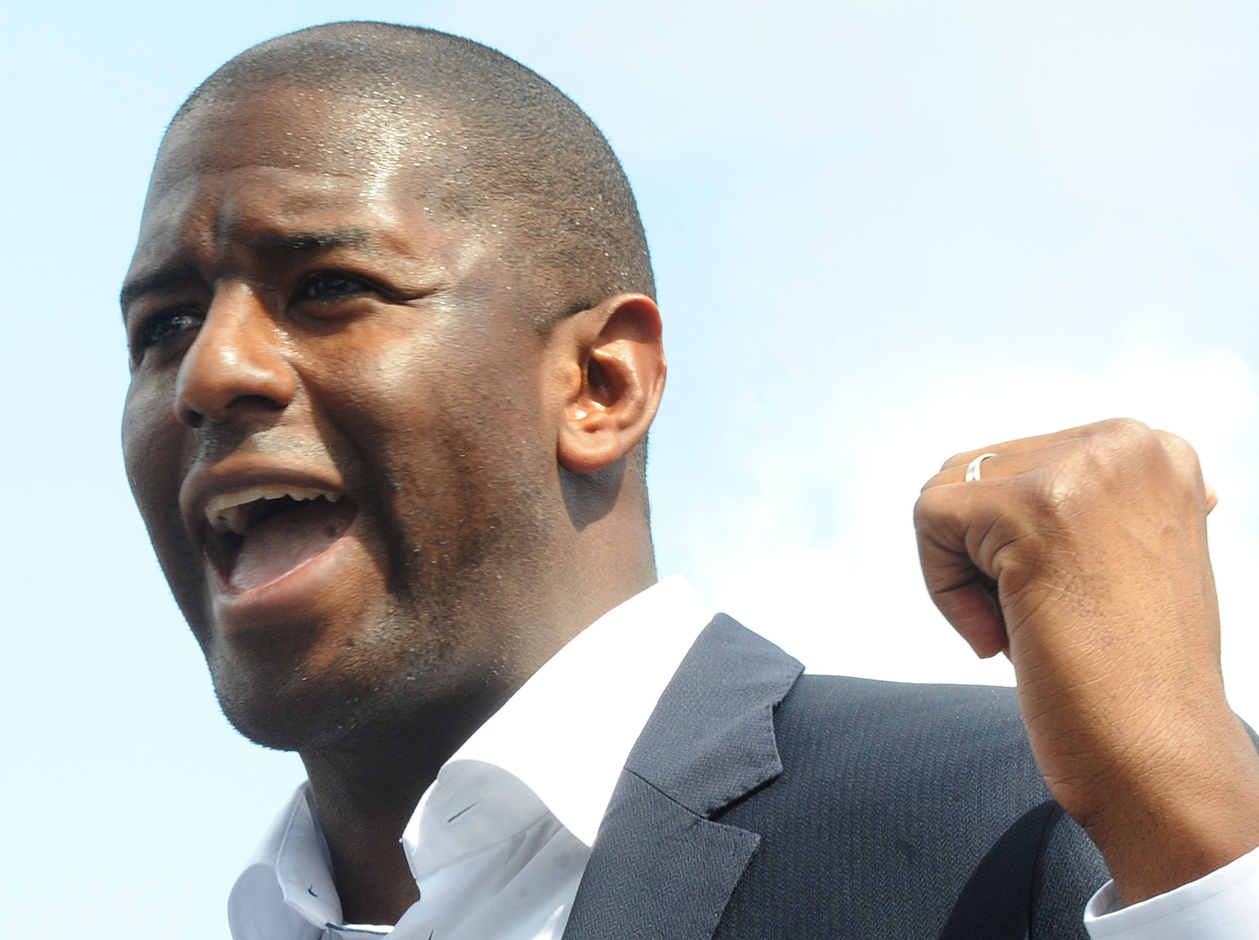 Democratic gubernatorial nominee Andrew Gillum speaks at a campaign event on October 4, 2018 beside Interstate 4 in downtown Orlando, Florida. Gillum announced that his campaign had received the endorsement of Orlando Mayor Buddy Dyer, Tampa Mayor Bob Buckhorn, and St. Petersburg Mayor Rick Kriseman, all Democratic mayors of major cities in the electorally important I-4 corridor.    (Photo by Paul Hennessy/NurPhoto via Getty Images)