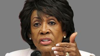 Maxine Waters headshot, as US Representative of California, graphic element on gray