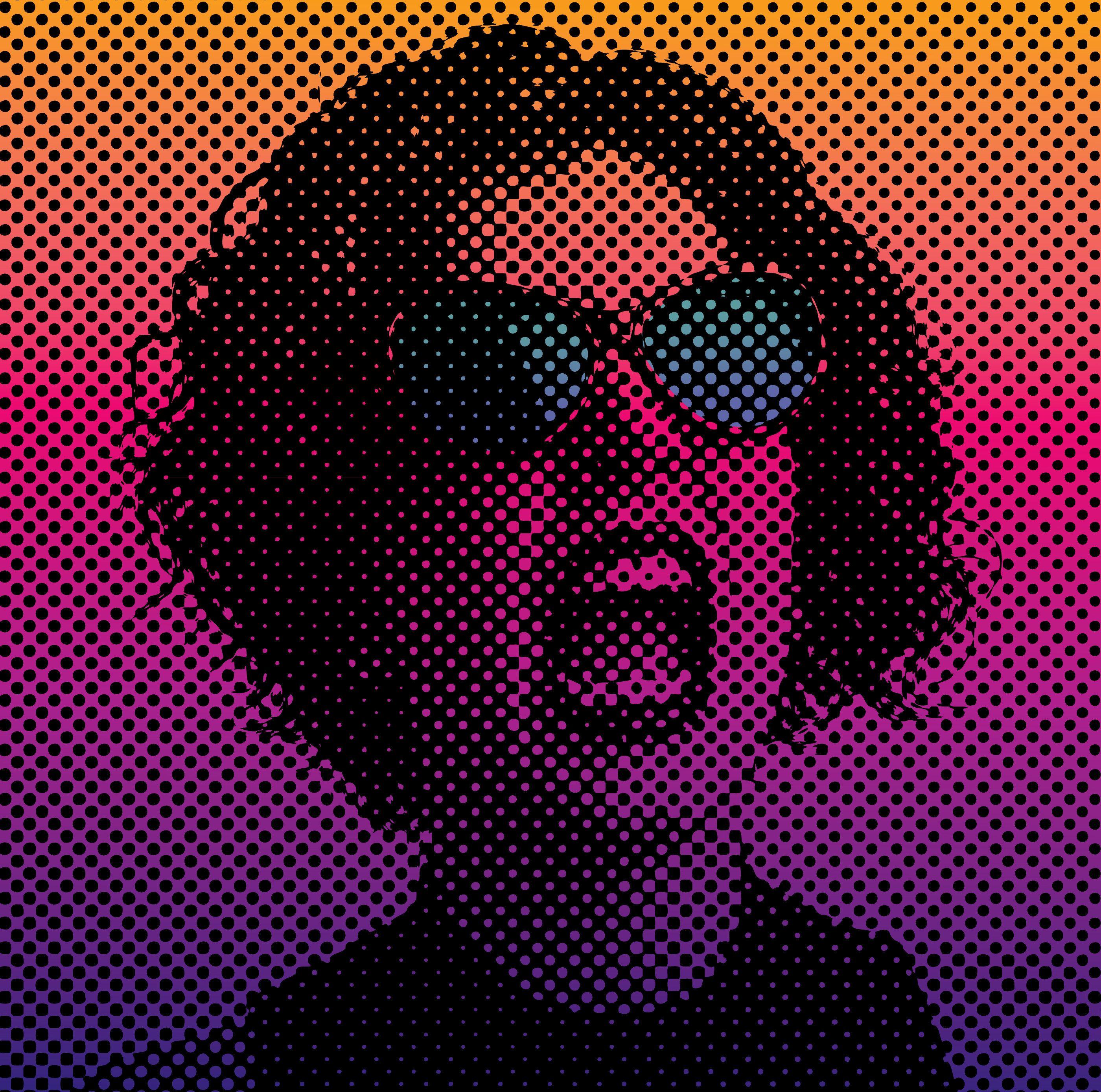 Angry woman screaming with halftone dot