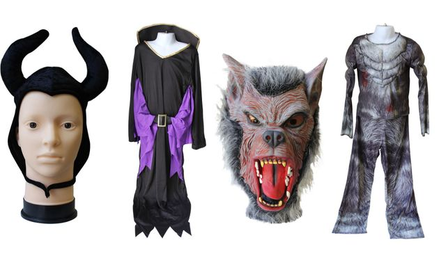 Mask of a werewolf costume from high street retailer B&M, and the strap of a horned headpiece on a Maleficent costume, purchased from eBay.