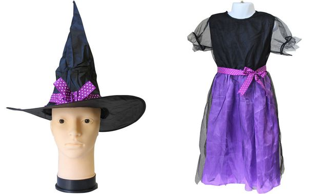 Unbranded purple witch costume bough from eBay.