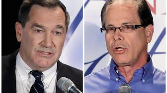 Democratic Sen. Joe Donnelly, left, and former Republican state Rep. Mike Braun. (Darron Cummings/AP)