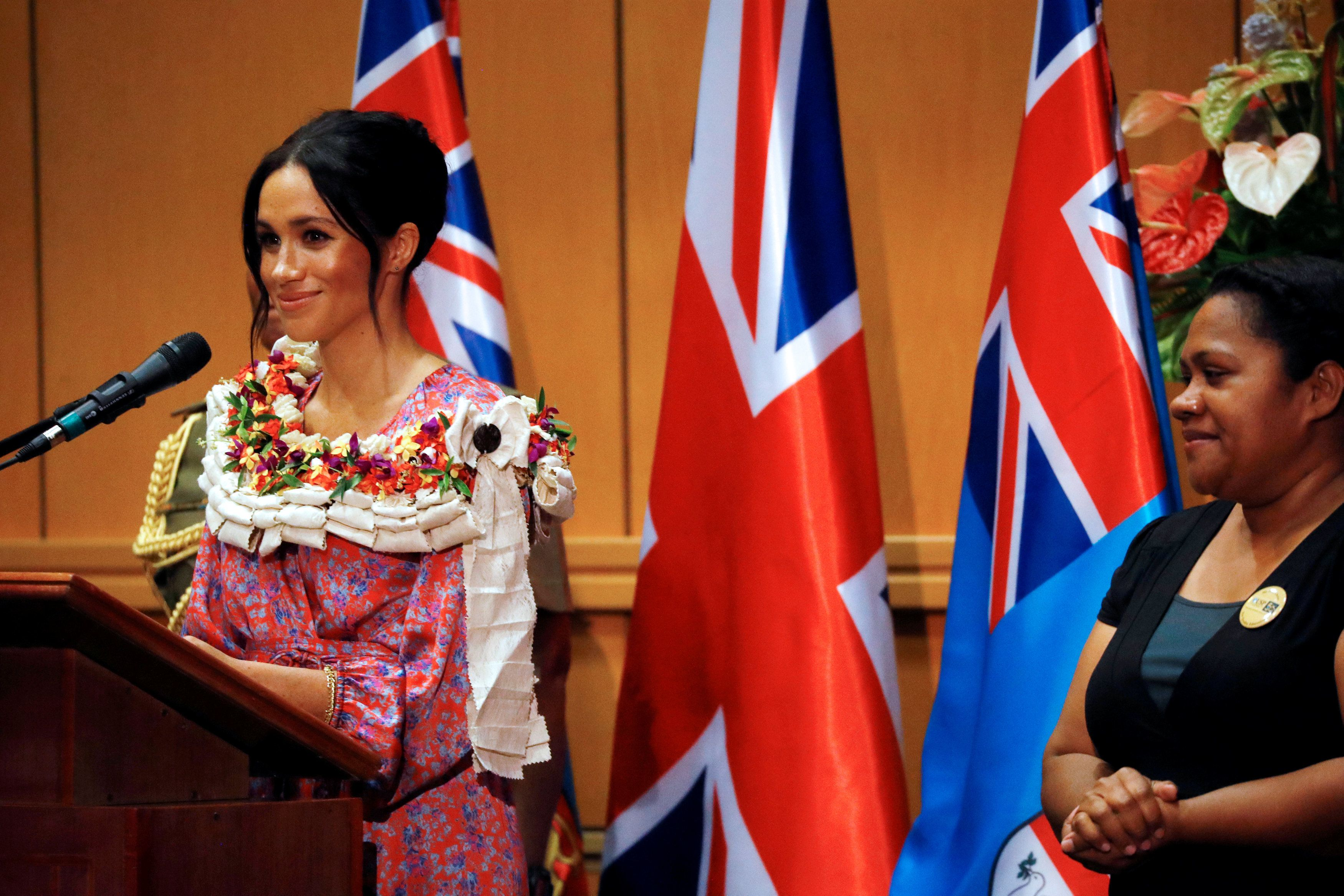 The Duchess of Sussex makes a speech during a visit to the University of the South Pacific in Suva Fiji on day two of the