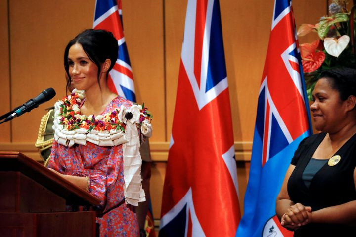 The Duchess of Sussex makes a speech during a visit to the University of the South Pacific in Suva, Fiji, on day two of the r