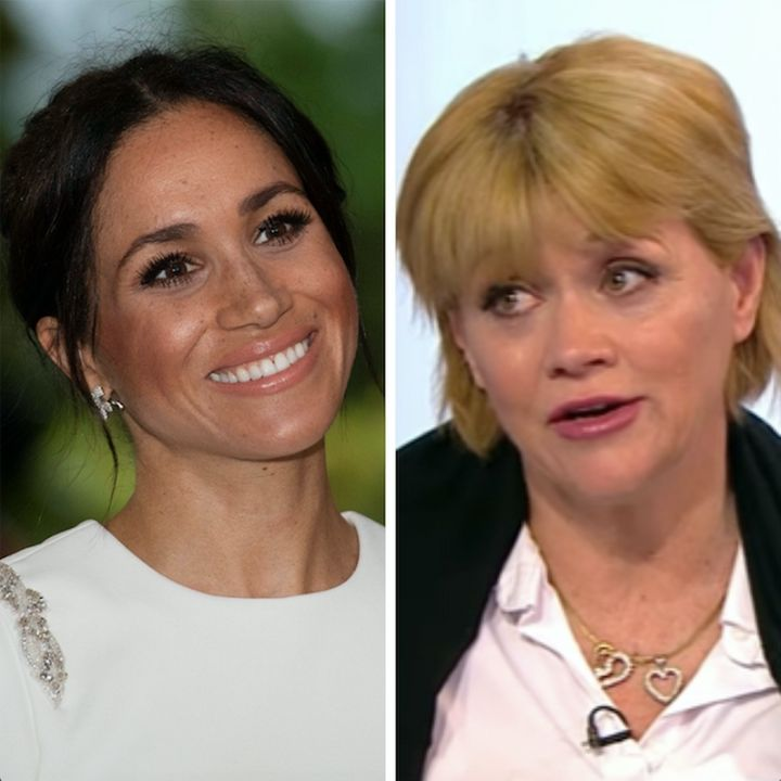 Meghan Markle in Tonga (L) and Samantha Grant (R).