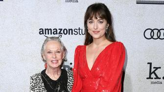 HOLLYWOOD, CA - OCTOBER 24:  Tippi Hedren (L) and Dakota Johnson attend the premiere of Amazon Studios 'Suspiria' at ArcLight Cinerama Dome on October 24, 2018 in Hollywood, California.  (Photo by Steve Granitz/WireImage)