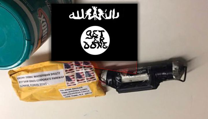 "An apparent pipe bomb discovered at CNN's New York offices featured a sticker with the phrase ""Get Er Done"" over a parody ISI"