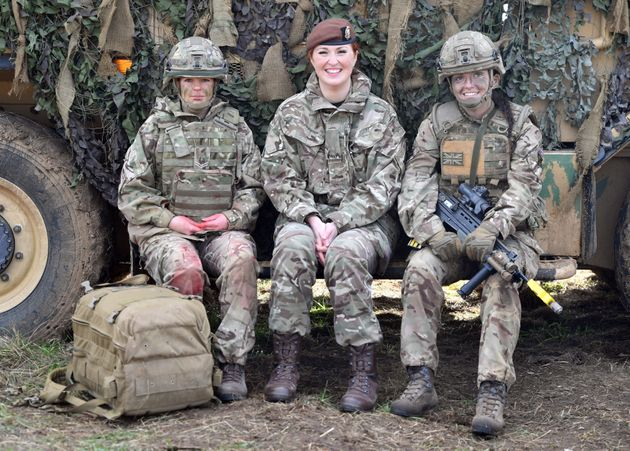Members of the Armed Forces at a land power demonstration on Salisbury Plain on