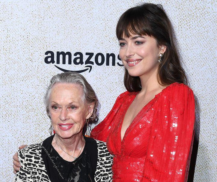 "Tippi Hedren and Dakota Johnson arrive at the Los Angeles ""Suspiria"" premiere."