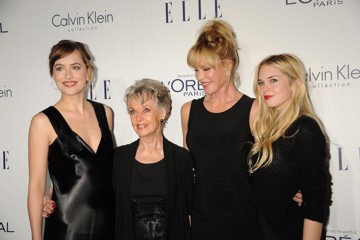 Dakota Johnson, Tippi Hedren, Melanie Griffith and Stella Banderas at the 22nd ELLE Women in Hollywood Awards.
