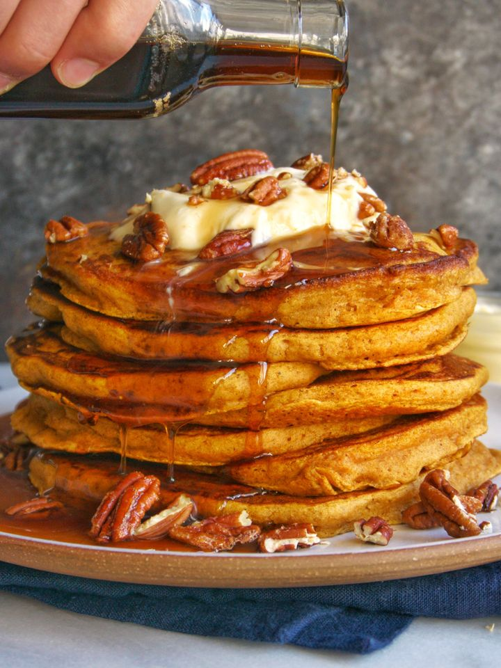 Usher in fall with these perfectly pumpkin-laced pancakes.