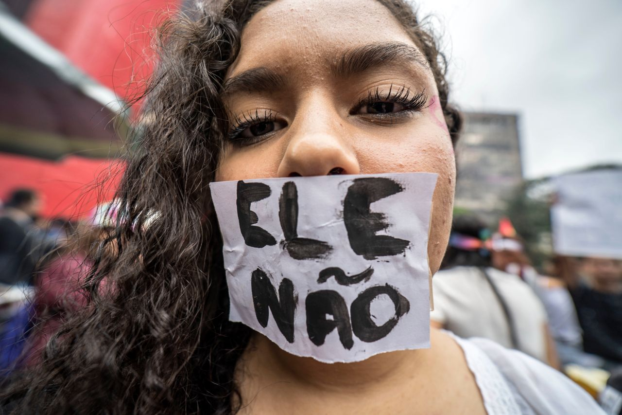 """Weeks before the election, feminists, LGBTQ activists and other movements staged large anti-Bolsonaro protests under the slogan """"Ele Não,"""" or """"Not Him."""""""